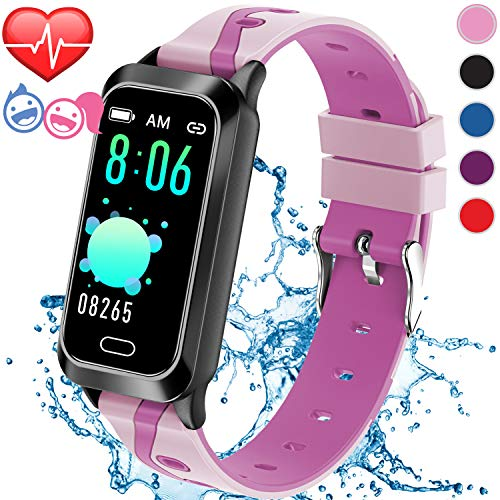 Inspiratek Kids Fitness Tracker for Girls and Boys Age 5-16 (5 Colors), Kids Activity Tracker, Fitness Watch for Kids - Fitness Tracker for Kids - Activity Tracker for Kids, Kids Step Tracker (Pink)