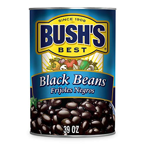 BUSH'S BEST Canned Black Beans (Pack of 6), Source of Plant Based Protein and Fiber, Low Fat, Gluten Free, 39 oz