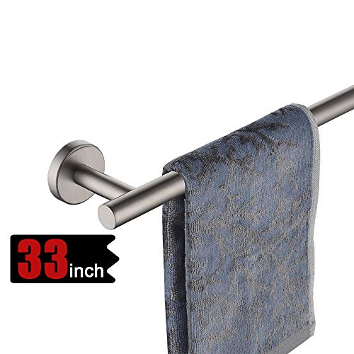 JQK Bath Towel Bar, 30 Inch Stainless Steel Single Towel Rack for Bathroom, Towel Holder (Brushed Finished) Wall Mount, 32.91 in Total Length