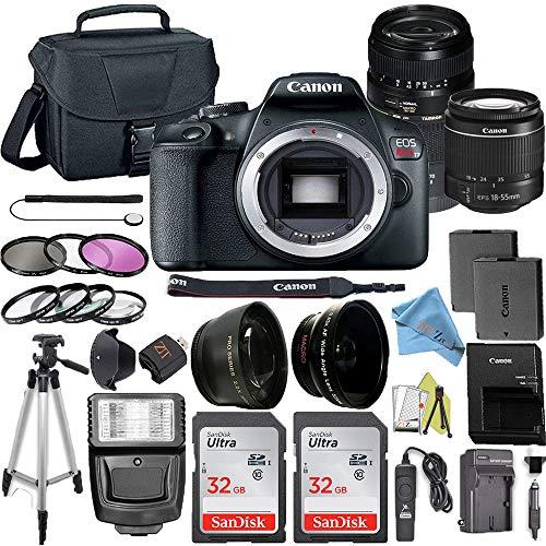 Canon EOS Rebel T7 DSLR Digital Camera with 24.1 MP CMOS Sensor, EF-S 18-55mm & Tamron AF 70-300mm Lens Kits + 2 Pack SanDisk 32GB Memory Cards + Bag + Accessory Bundle