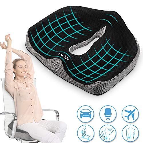 ROYI Memory Foam Seat/Chair Cushionfor Relieves Back, Sciatica Pain,Tailbone Pain,Coccyx, Degenerating Disc, Orthopedic, Osteoarthritis, Sacrum, Prostate Cushion, Low Back Pain Cushion,Hip Shaping
