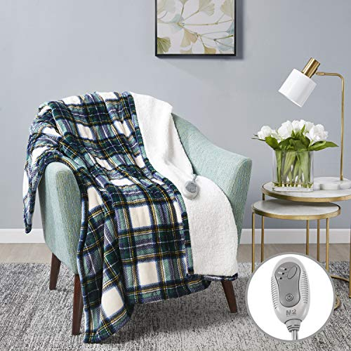 MP2 Heated Sherpa Throw Blanket Electric Lap Blanket 50' x 60' with 3 Heating Levels 2 Hours Auto Off for Home and Office Use Machine Washable UL Certified, EMF Radiation Safe, Blue/Green/Yellow Plaid