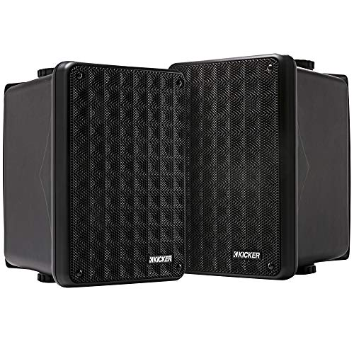 KICKER KB6 2-Way Full Range Indoor Outdoor Speakers (Pair)   Weatherproof Speakers for Patio Sunroom Garage Poolside in-Home   6.5 inch woofer, 2x5 inch Horn Tweeter   Quick Mounting System