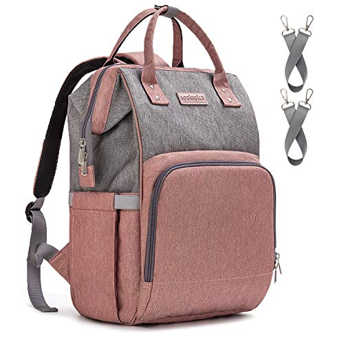 Diaper Bag Backpack Nappy Bag Upsimples Baby Bags for Mom and Dad Maternity Diaper Bag with USB Charging Port Stroller Straps Thermal Pockets,Water Resistant,Pink&Gray