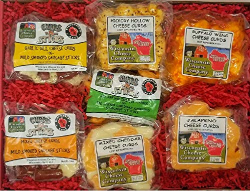 WISCONSIN CHEESE COMPANY'S - Wisconsin Big Deluxe Famous Cheese Curd & Stick Sampler, A Perfect Holiday Food Gift, Cheese Gift, Gift for Family and Friends.