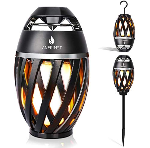 ANERIMST Tiki Torch Waterproof Portable Bluetooth Speaker, Flickering Flame Effect, Led Table Lanterns/Lamp, TWS Supported for Garden Patio, Tiki Torch Stereo Speakers for iPhone/iPad/Android