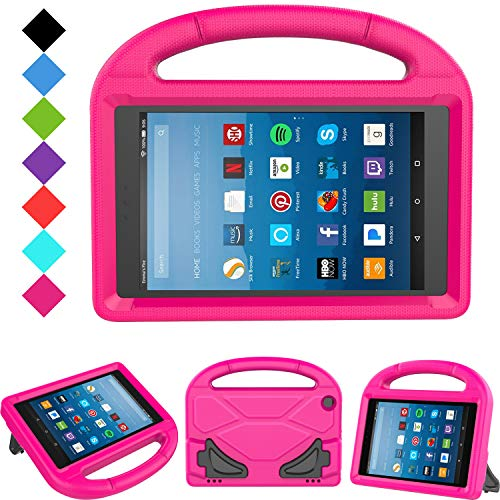 Kids Case for Fire HD 8 - TIRIN Light Weight Shock Proof Handle Kid –Proof Cover Kids Case for Amazon Fire HD 8 Tablet (7th and 8th Generation Tablet, 2017 and 2018 Release), Rose