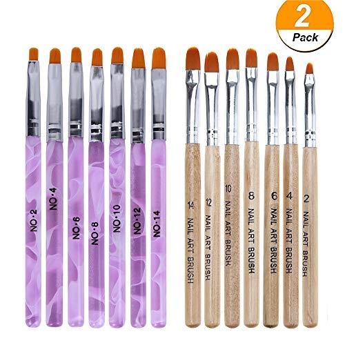 WOKOTO 14 Pcs Nail Brush Pen Set Uv Gel Acrylic Nail Art Tips Builder Brush Nail Painting Brush Pen Kit