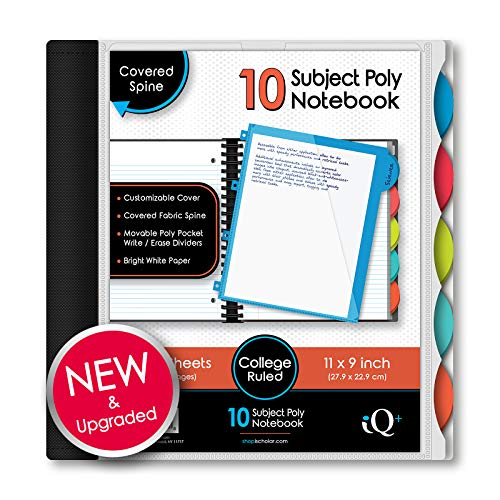 IQ iScholar Poly Cover 10 Subject Notebook, College Ruled, 11 x 8.5', 250 Sheets, Color Will Vary (58900)