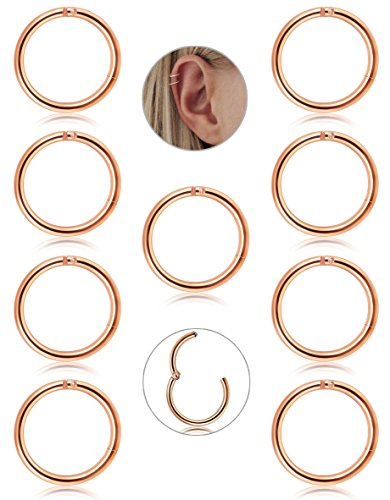 FIBO STEEL 9 Pcs Stainless Steel 16g Cartilage Hoop Earrings for Men Women Nose Hoop Ring Helix Septum Conch Daith Lip Tragus Piercing Jewelry (D:Rose Gold 10MM)