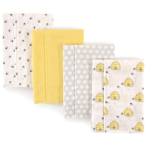 Hudson Baby Unisex Baby Cotton Flannel Burp Cloths 4-Pack