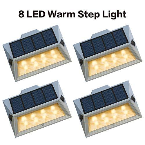 RoopureNewest Version Warm 8 LEDWarm White Solar Deck Lights Outdoor Decorative Solar Step Lights Waterproof Lighting for Stair Garden Wall Paths Patio Decks Auto On/Off 4 Pack
