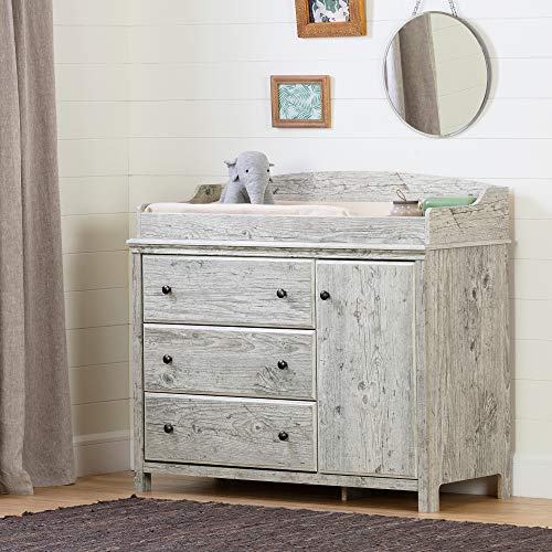 South Shore Cotton Candy Changing Table with Station-Seaside Pine