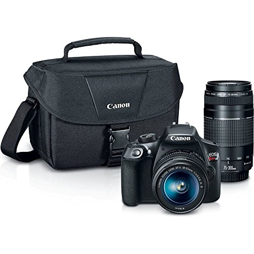 Canon Digital SLR Camera Kit [EOS Rebel T6] with EF-S 18-55mm and EF 75-300mm Zoom Lenses - Black, full-size