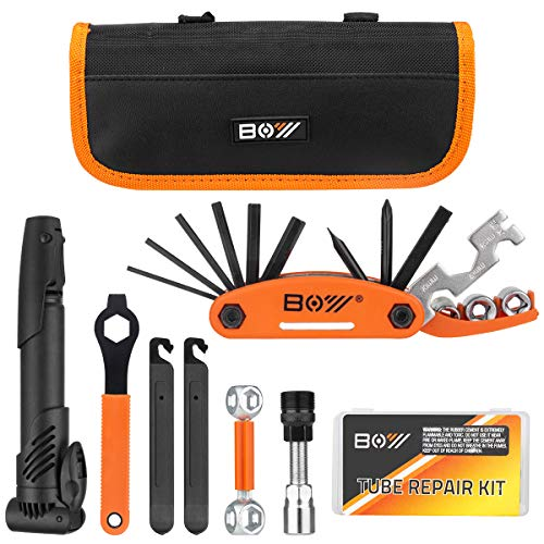 Bicycle Repair Bag & Bicycle Tire Pump, Home Bike Tool Portable Patches Fixes, Fixe, Inflator, Maintenance For Camping Travel Essentials Tool Bag Bike Repair Tool Kit Safety Emergency All In One Tool