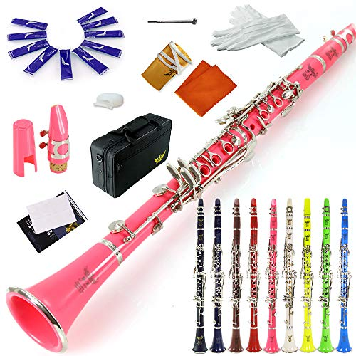 ROFFEE clarinet beginner student level 26N B flat pink ABS nickel plated 17 keys Bb tone with 2 berrels,case,10 reeds,mouthpiece and more