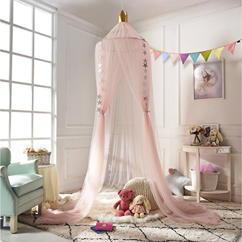 A LOVE BRAND Mosquito Net Bed Canopy Round Lace Dome Netting Hanging Curtains Princess Play Tent Bedding for Kids Indoor Playing Reading Games House Pink