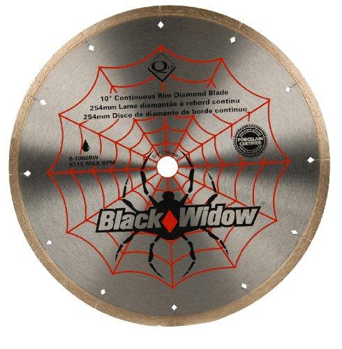 QEP 6-1008BW Black Widow 10' Wet Tile Saw Micro-Segmented Diamond Blade for Porcelain, Marble, Granite & Ceramic Tile, 5/8' Arbor, Wet Cutting, 6115 Maximum Rpm