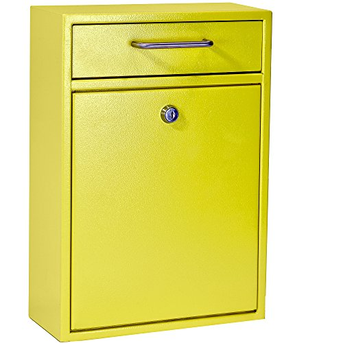 Mail Boss 7423 High Security Steel Locking Wall Mounted Mailbox Office Drop Comment Letter Deposit Box, Yellow