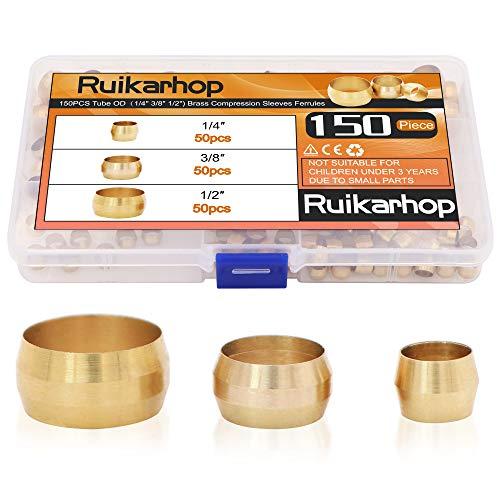 Ruikarhop 150PCS Tube OD(1/4' 3/8' 1/2') Brass Compression Sleeves Ferrules,Brass Compression Fitting Assortment Kit