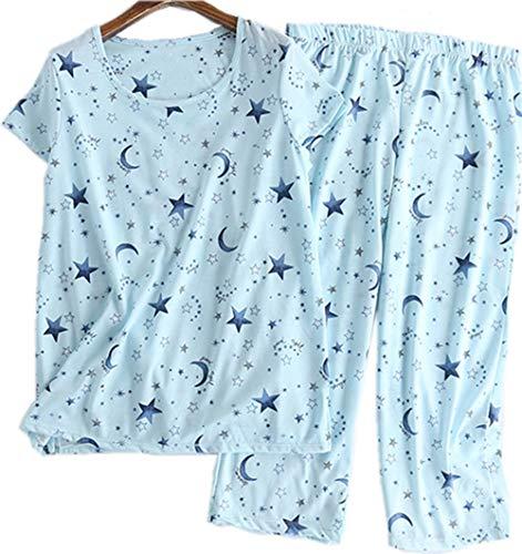 Women's Pajama Set - Sleepwear Tops with Capri Pants Casual and Fun Prints Pajama Sets SY215-Blue Star-S