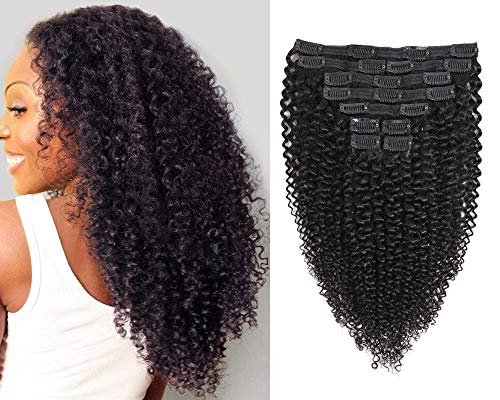 Jiarosi Kinky Curly Clip in Hair Extensions, 3C 4A Afro Curly Hair Clip ins,Thick 8A Brazilian soft Remy Hair Lace weft Curly Human Hair Clip in for Woman, 1B Black Color,10Pcs/Set,120 Gram(16)