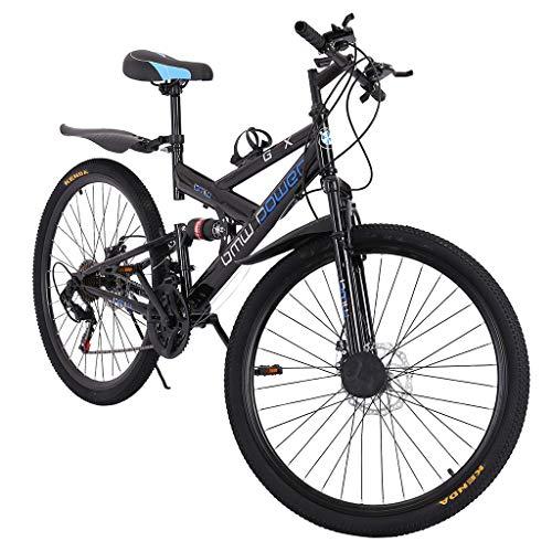 26 Inch Mountain Bike, 21-Speed MTB Bicycle Steel Carbon Full Suspension Frame Folding Bicycles Dual Disc Brake Track Bike Road Bikes for Adult Teens Men Women-US Shipment (Black)