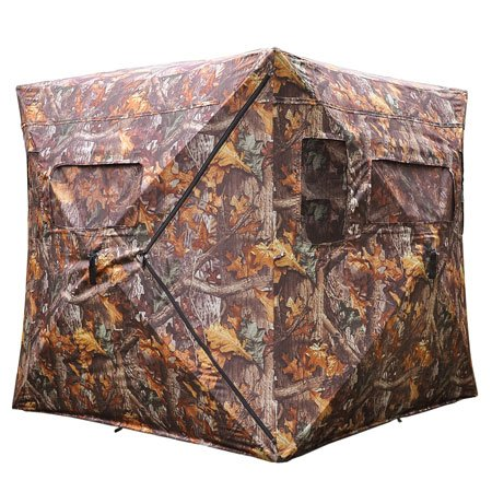 Durable Poly Fabric XL Pop Up Ground Hunting Blind Wood Leaf Camo Hub Style Tent w/Zipper Roof Door Windows for Professional Wild Life Fowl Game Hunt Camping