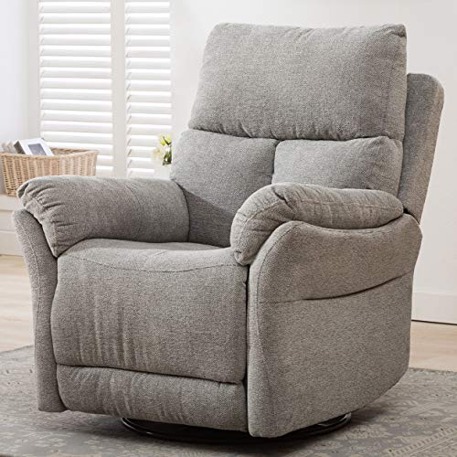ANJ Swivel Rocker Fabric Recliner Chair - Reclining Chair Manual, Single Modern Sofa Home Theater Seating for Living Room (Silver)