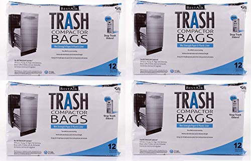 BestAir Trash Compactor Bags(16'' D. x 9'' W. x 17'' H,pack of 12) (Set of 4)