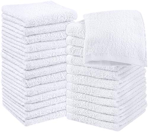Utopia Towels Cotton White Washcloths Set - Pack of 24 - 100% Ring Spun Cotton, Premium Quality Flannel Face Cloths, Highly Absorbent and Soft Feel Fingertip Towels