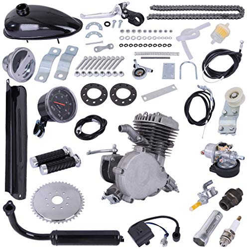80cc Bicycle Engine 2-Stroke Gas Motorized Bike Motor Kit Gasoline Motorized Gas Engine Bike Motor Kit (Black)
