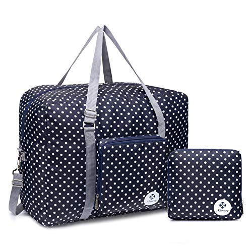 For Airlines Foldable Travel Duffel Bag Tote Carry on Luggage Sport Duffle Weekender Overnight for Women and Girls (Polka Dot-1109)