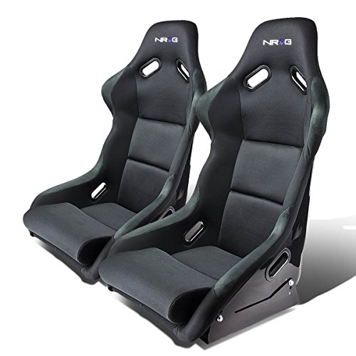 NRG FRP-300E Pair of Fiber Glass Bucket Style Racing Seat (Black)
