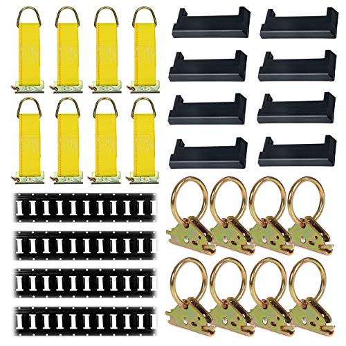 E-Track Tie-Down KIT! 4 Powder-Coated 5' Horizontal E Track Rails, 8 End Caps, 8 Rope Tie-Offs, 8 O Rings   Trailer Accessories, Cargo Securement