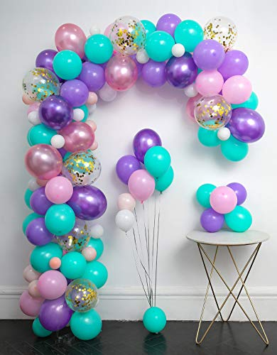 Unicorn Balloons Arch 114pcs & Garland Kit (Gold Confetti .Pearlescent Pink Purple.Light Purple.Mint Green.White.) Tying Tools+Decorating Strip+Glue Dots+Flower Clips+Ribbon Baby Shower Unicorn Party