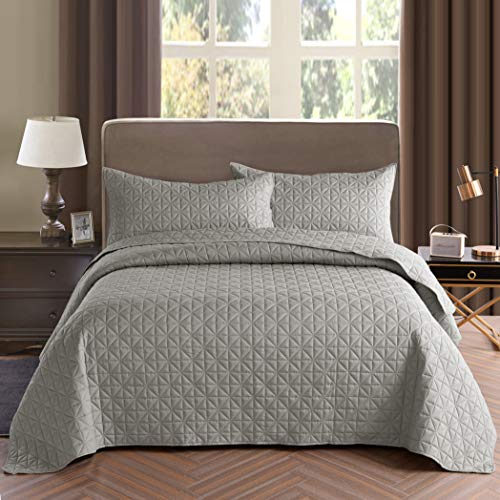 Exclusivo Mezcla 3-Piece King Size Quilt Set with Pillow Shams, as Bedspread/Coverlet/Bed Cover(Grid Weave Light Grey) - Soft, Lightweight, Reversible& Hypoallergenic