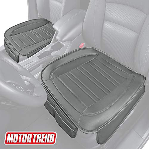Motor Trend MTSC-420 Gray Universal Car Seat Cushion (Front, 2-Pack) – Padded Luxury Cover with Non-Slip Bottom & Storage Pockets Faux Leather Chair Protector for Auto, Truck & SUV