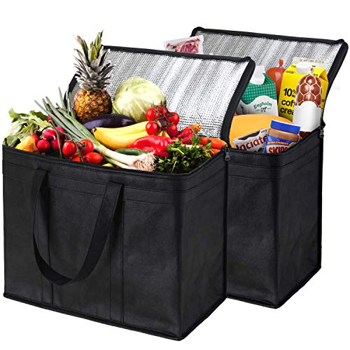 NZ Home XL Insulated Shopping Bags for Groceries, Sturdy Zipper, Foldable, Washable, Heavy Duty, Stands Upright, Completely Reinforced Bottom & Handles (2 Pack, Black)