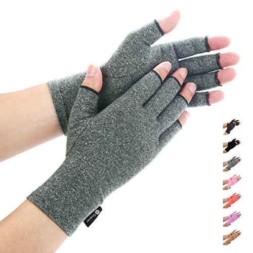 Arthritis Gloves,Duerer Compressions Gloves,Women and Men Relieve Pain from Rheumatoid, RSI, Carpal Tunnel, Hand Gloves for Dailywork, Hands and Joints Pain Relief(Small, Gray)