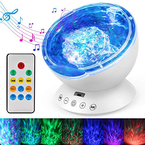 Ocean Wave Projector, Remote Control Night Light Lamp 12 LEDs & 7 Color Changing Modes LED Night Light Projector Lamp Built-in Mini Music Player for Baby Kids Adult Bedroom Living RoomWhite)