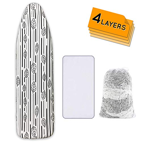 Ironing Board Cover and Pad Extra Thick Heavy Duty Padded 4 Layers Non Stick Scorch and Stain Resistant 15x54 and 3 Velcro Straps Elastic Edge with 2 Bonus Laundry Bag and Protective Scorch Mesh Cloth