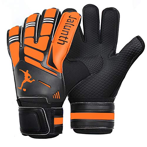 Soccer Goalie Goalkeeper Gloves – Kids Youth Adults Goalie Gloves with Finger Protection Anti-Slip Latex Palm and Soft PU Hand Back (Orange, 9)