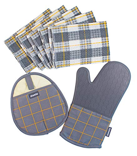 Honla 7 Piece Kitchen Linen Sets,Cotton Windowpane Dish Cloths,Silicone Pot Holder and Oven Mitt Glove,Heat Resistant to 500 Degree F,Machine Washable,Grey