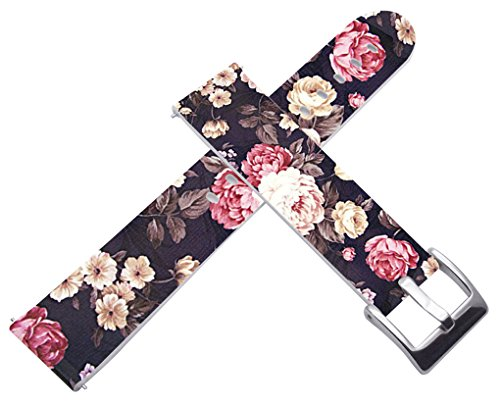 18mm Watch Bands Straps Leather Quick Release Compatible with Withings Activité/Activitie Pop/Steel/Steel HR for LG Watch Stylefor Huawei Watch Luxury Colorful Floral Flower Texture