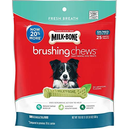 Milk-Bone Brushing Chews Daily Dental Dog Treats, Fresh Breath, Small/Medium Breed (25 Bones), 19.6 oz Pouch, Red