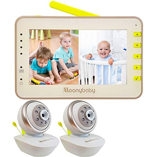 Moonybaby Split 55 Video Baby Monitor 2 Cameras, Split Screen, Pan Tilt Camera, 170 Degree Wide View Lens Included, 4.3 inches Large Monitor, Night Vision, Temperature, 2 Way Talk Back, Long Range
