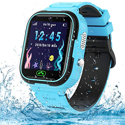 Kids Smart Watch Phone,IP67 Waterproof GPS Tracker Smartwatch for Kids, HD Touch Screen Game Watch with SOS Call/Voice Chat/Camera/Alarm for Boys and Girls Birthday Gifts (Blue)