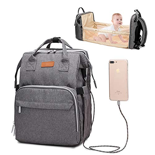 3 in 1 Travel Foldable Baby Bed Diaper Bag,Diaper Backpack Changing Station,Built-in USB Charging Port and Stroller Straps