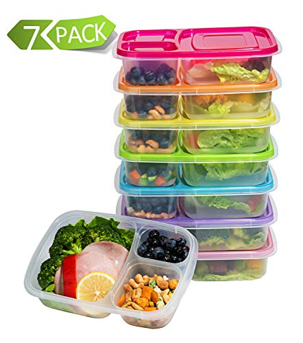 Meal Prep Containers 3 Compartment Food Storage Containers Microwave Dishwasher Freezer Safe (7 pack)